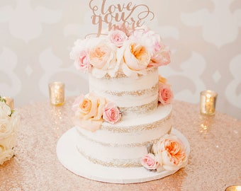 rose gold love wedding cake topper you more topper etsy 19279