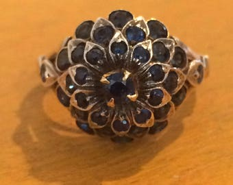 Vintage Gold Harem Ring with Sapphires