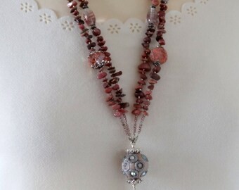 Pink Necklace, Long Gemstone Necklace, Long Pink Gemstone Necklace, Statement Necklace, Rhodonite Necklace, Gemstone Chip Necklace, Pink