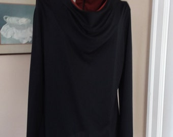 Vintage Black Scoop/Drop Neckline Blouse Orange Lining--with Zipper in the Back From Fred Rothschild of California