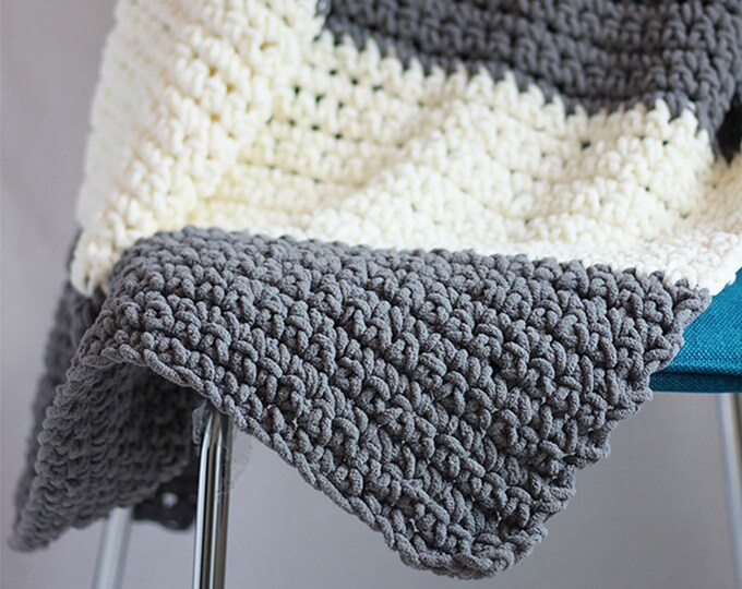 PDF Crochet Pattern - Granite Blanket Throw