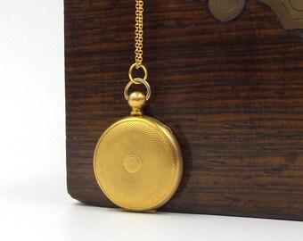Victorian Gold Filled Round Locket Necklace