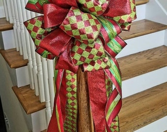 Large Christmas Tree Topper,  Red and Green Tree Bow, Mailbox Christmas Bow, Harlequin Christmas Tree Topper, Mailbox Christmas Bow