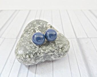 Blue pearl studs, Pearl stud earrings, Swarovski pearl studs, Dark blue stud earrings, 8mm pearl stud, Simple pearls studs, Made in UK