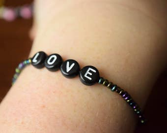 "Black Simple Letter Beaded ""LOVE"" Bracelet"