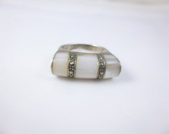 Marcasite Ring, Mother of Pearl ring, Sterling silver ring, White stone ring, Vintage