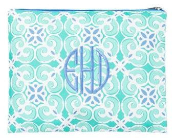 Cosmetic / Bikini Bag/  Whale Print/ Sea Tile/ Navy Trellis