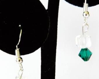 Green Swarovski Drop Earrings, Sterling Silver Pierced Earrings, Swarovski Dangling Earrings, Rhinestone Earrings, Swarovski Jewelry, Green