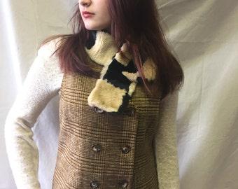 Vintage Casual Corner Doublebreasted Brown Plaid Vest