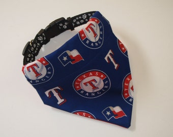 No-Tie, Slip Over Collar Dog Bandana, Texas Rangers Fabric