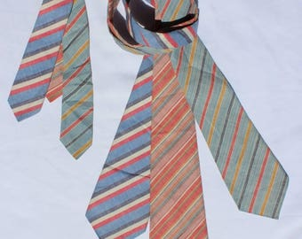 1940s Striped Summer Ties, set of 3