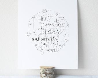 Psalm 147:4 Printable Bible Verse Art Print 8x10 Digital Wall Art Gift