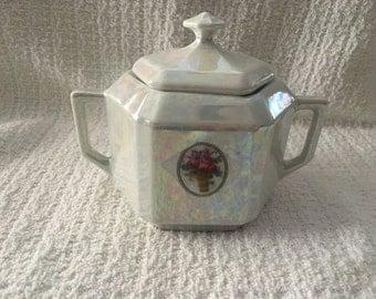 Lusterware Sugar Bowl, German Porcelain Sugar Bowl, Lidded Sugar Bowl, German Porcelain, Sugar Bowl