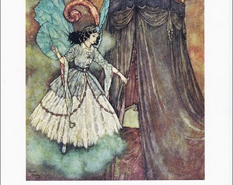 Beauty and the Beast vintage art nouveau print illustration folk tale Edmund Dulac 8.5x11.5 inches