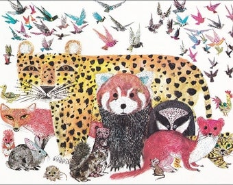 animals fox badger birds 70's mid century colourful colorful children's illustration retro nursery decor Brian Wildsmith 8.5x11 in