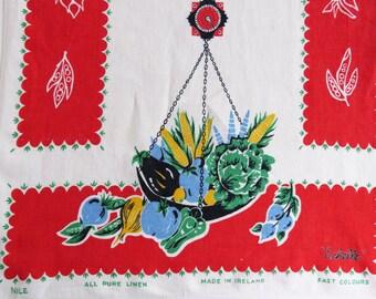 "Vintage 60s Irish linen tea towel - ""Echelle"" - fabulous retro colours of food on scales"