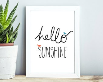 PRINTABLE Wall Art - Hello Sunshine - A4 Instant Download - Inspirational Quote/Print