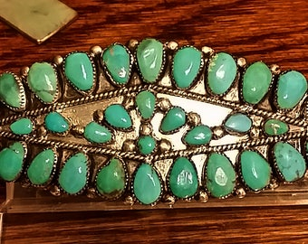 Beautiful Navajo Hair Barrett Sterling Silver & Blue Gem Turquoise