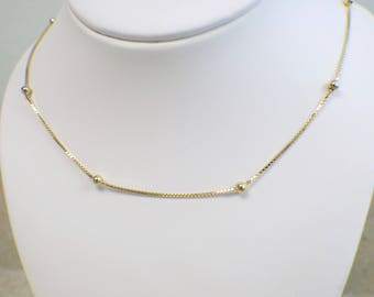 14K Yellow Gold 24 Inch Bead Station Chain Necklace