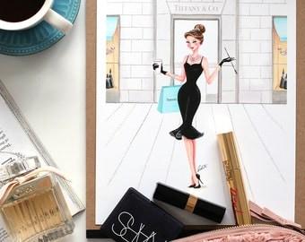 Audrey hepburn, Fashion illustration print, Fashion art, watercolor, girl art, girls room art, breakfast at tiffanys, art print - At Tiffany
