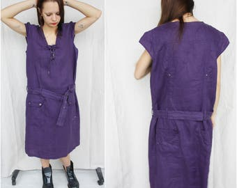Linen dress Purple linen dress Long linen dress Loose dress Belt dress Violet purple dress Summer dress Plus size Oversize Casual dress
