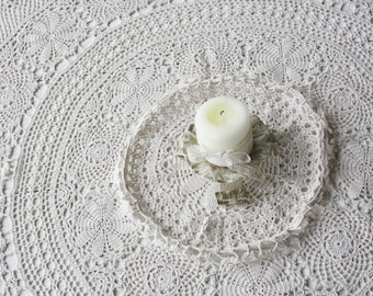 Large tablecloth Crochet tablecloth Crocheted lace Table cloth Natural cotton Hand crochet Round tablecloth Beige ivory table cover