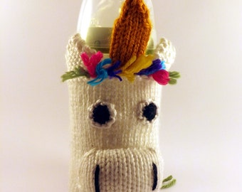 Knit Unicorn Baby Bottle Cozy - Baby Bottle Cozy - Knitted Bottle Cover - Unicorn Bottle Cover