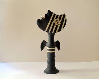 ceramic sculpture - art object - sculpture - angel - black angel - ceramic