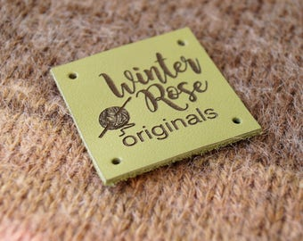 Custom clothing labels, knitting labels, personalized leather labels, crochet labels, leather logo tags, leather garment labels, set of 25