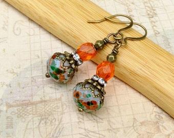 Orange Earrings, Green Earrings, White Earrings, Antique Gold Earrings, Victorian Earrings,Czech Glass Beads, Womens Earrings, Gifts for Her