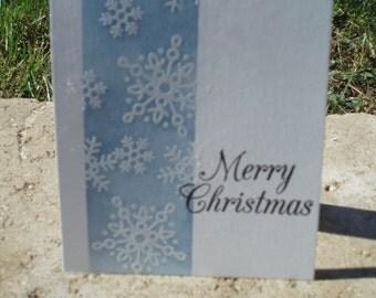 CLEARANCE, Merry Christmas Card, Snowflake, Christmas Snowflake Card, Holiday Card, Christmas Card, Embossed Cards. Simple Christmas Card