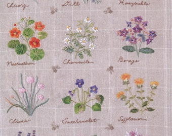Embroidery patterns - botanical - herb embroidery - japanese embroidery book - ebook - PDF - instant download
