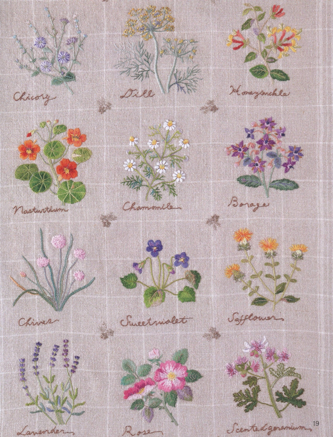 Embroidery patterns botanical herb japanese