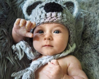 Crochet Newborn Koala Bear Hat
