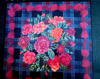 """50%OFF//NEEDLEPOINT KITS.// """"Elizabeth"""" by Annabel Fox. A Vintage Classical Roses & Bows Kit. Tartan Background. //Was 200.00) Now!!"""