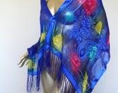 Vintage Silk Scarf* Made In Japan . Fringe . Large . Elegant . Sheer . Rare . Party . Wedding . Shimmery .