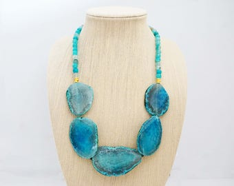 Turquoise Agate Beaded Statement Necklace