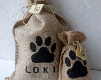 Paw Print & Personalized Burlap Bag
