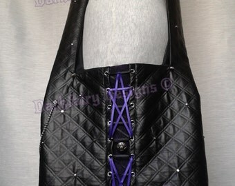 Gothic Quilted & studded sloppy bag