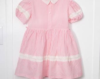 5: Pink and White Striped Dress with White Lace Trim, White Organdy Collar, Pleated Front, 1950s Girl's Dress