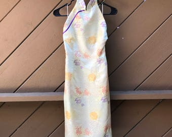 90s Chinese Silk Blend  Halter Dress