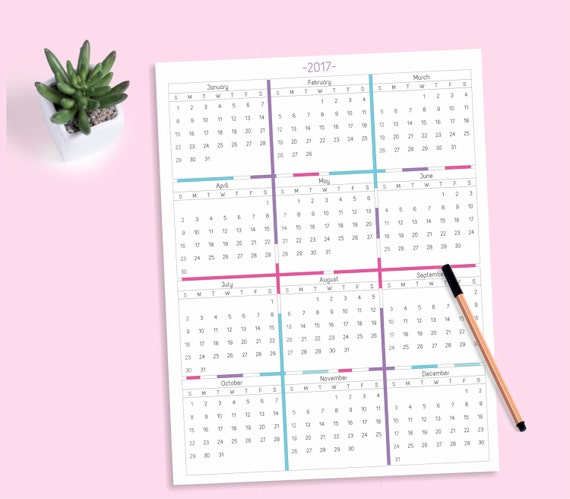 month at a glance blank calendar template - 2017 at a glance yearly calendar 12 month printable