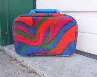 Vintage 1960s Small Colorful Groovy Cosmetic Bag Luggage Travel Case / Lunch Box