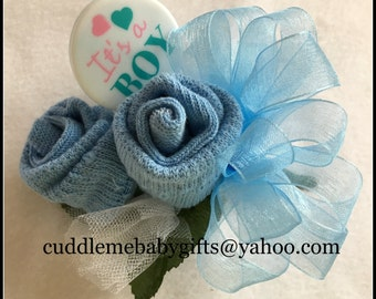 Baby Shower Baby Boy Wrist or Pin-on Baby Sock Corsage with Rattle Keepsake