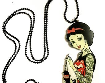Bad Girl, Snow White, fantasy tale, Drinking Coke, Coca Cola and has Tattoo, Cool, Funny, Gothic, Goth, Plastic Long Statement Necklace
