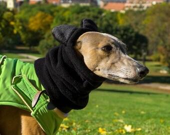 Winter dog snood with ears - fleece dog snood - dog hat / hood - MADE TO ORDER