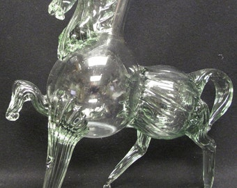 Vintage Calarasi Horse Shaped Green Glass Bottle Cavallo Hand Blown