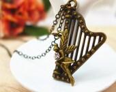 Harp Elf Necklace, ON SALE Harp Necklace, Harp Jewelry, Harp Pendant Necklace, Elves Charm Necklace Music Necklace Music Jewelry Musicians