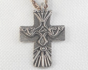 Vintage Marcie Pewter Peace Dove Cross Necklace Religious Peace Dove Necklace Pewter Cross Necklace Religious Necklace Marcie Signed Cross