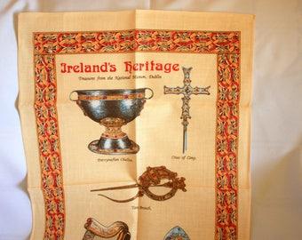 Ireland Tea Towel, Souvenir tea Towel, Vintage Ireland Souvenir, Irish Museum Dublin, Irish Linen, Fingal Tea towel
